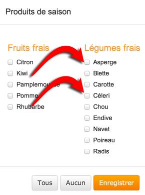 choix des fruits et légumes de saison
