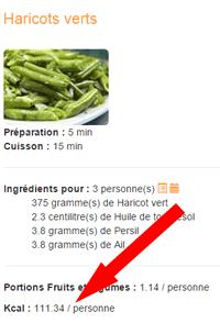 recettes légères calories