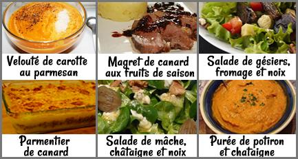 menu semaine course